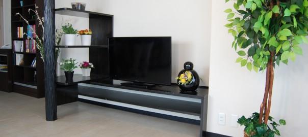 月光の商品設置イメージ,月光をテレビ棚に設置してインテリアとしても使用
